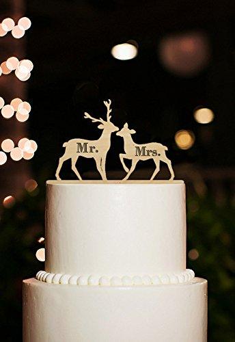 Engraved Mr Mrs Wedding Cake Toppers Rustic Couple Deer For Decorations