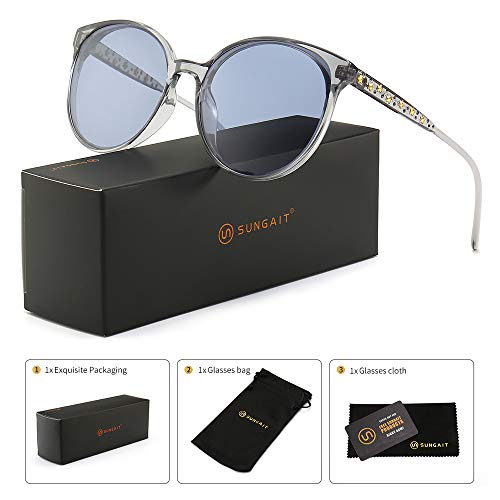SUNGAIT Women's Oversized Designer Sunglasses - Metal Star and Rhinestone Frame (Transparent Gray Frame/Light Grey Lens) ()