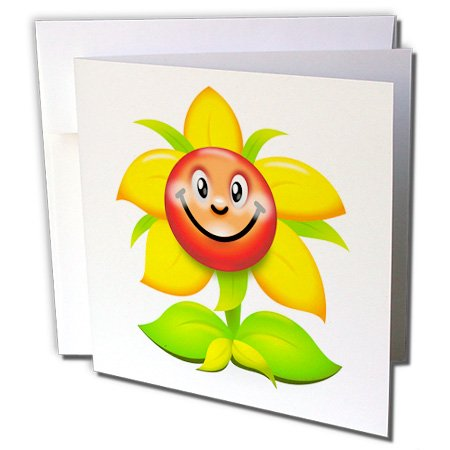 Spiritual Awakenings Cartoons - A very happy Sunflower smiling at the world and you - 12 Greeting Cards with envelopes (gc_245366_2)