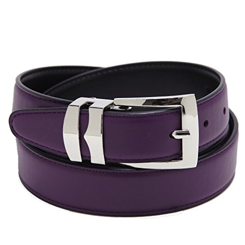 Silver Reversible Belt - Reversible Belt Bonded Leather Removable Silver-Tone Buckle PURPLE/Black 32