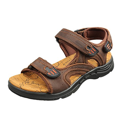 Tortor Men's 1bacha Strap Brown Outdoor Leather Sandal Athletic Two Summer qrAW5q