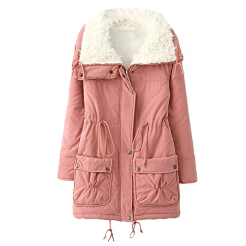 Pink para Cotton Pocket Outdoor Jackets Mujer Thicken Zip Zhuhaitf Winter Coats Workers Warm Bequem Ladies qWpwnZwa6