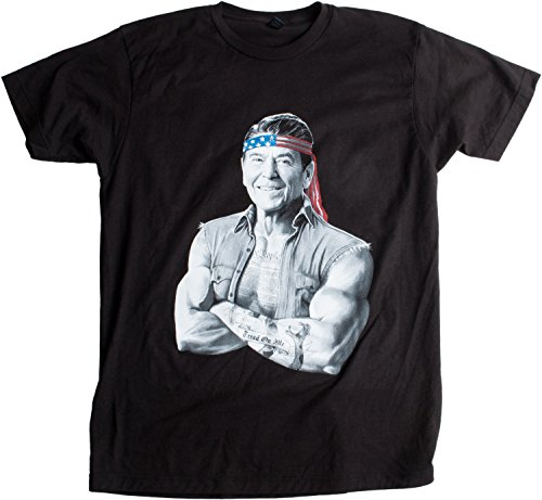 Ronald Reagan, American Icon | Epic Conservative 'Merica Freedom Unisex T-Shirt-Adult,XL Black