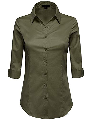 MAYSIX APPAREL Womens 3/4 Sleeve Stretchy Button Down Collar Office Formal Shirt Blouse , Mss1_newolive, MEDIUM ( fits like Small ) -