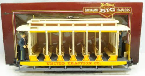 """Bachmann Industries Open Streetcar - United Traction #504 Yellow - Large """"G"""" Scale Rolling Stock"""