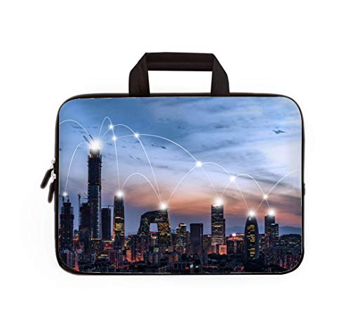 Double Zipper Laptop Bag,City Network of Beijing CBD,17-inch Canvas Waterproof Laptop Shoulder Bag is Compatible with 17-inch / 17.3-inch notebooks.