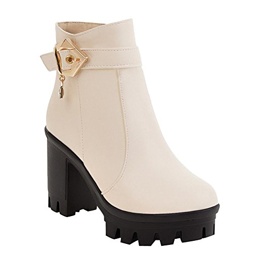 Charm Foot Womens Fashion Zipper Buckle Platform Chunky High Heel Short Boots Beige vAK4LF