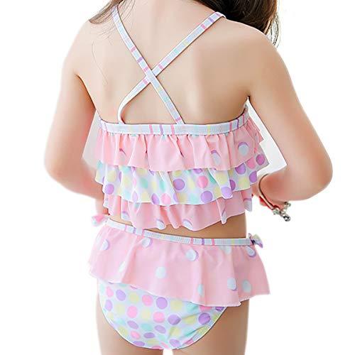 Dot Pink Tankini (Saidi 2-Piece Little Girls Swimsuit Cute Tankinis Suit Swimwear (S4, Pink Dot))
