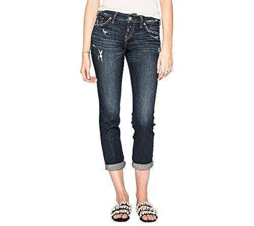 (Silver Jeans Co. Women's Sam Mid Rise Boyfriend Jeans, dark rinse wash, 25x27)