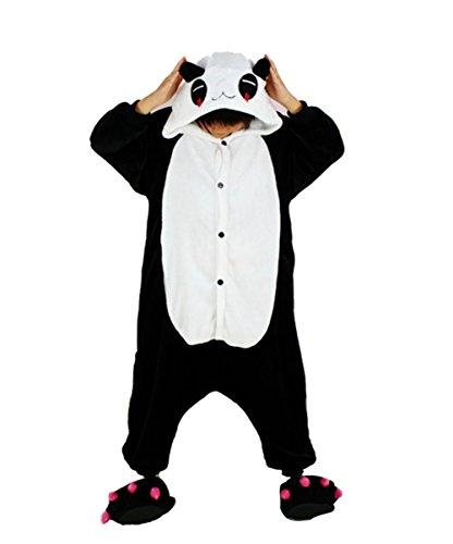 Famycos Hooded Button Front Unisex Animal Costumes Pyjamas Onesie Halloween Black White Red Eye Panda Kids-8 -