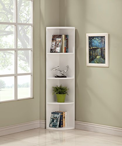 Review White Finish Wood Wall 5-Tier Corner Bookshelf Bookcase By eHomeProducts by eHomeProducts