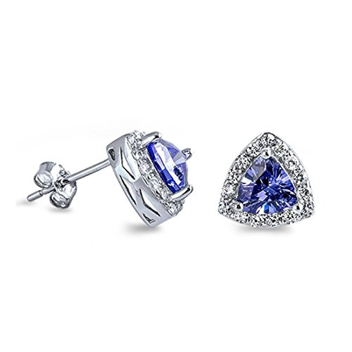 Triangle Halo Stud Post Earring Trillion Cut Simulated Blue Tanzanite Round CZ 925 Sterling Silver