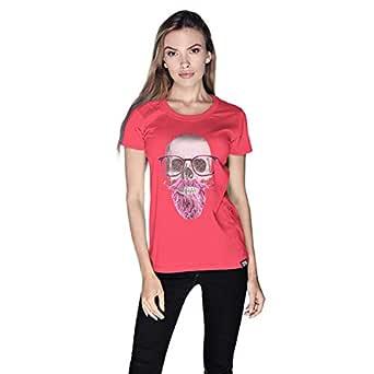 Creo Pink Beard Skull T-Shirt For Women - S, Pink
