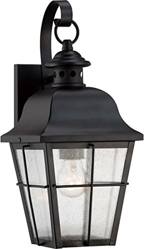 Quoizel MHE8406K Millhouse Seedy Glass Outdoor Wall Lantern Wall Mount Lighting, 1-Light, 100 Watt, Mystic Black (16