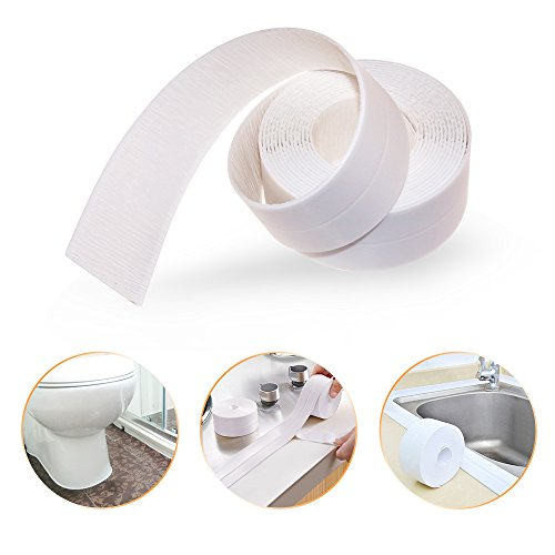 Bathtub Caulk Strip PE Self Adhesive Tub and Wall Sealing Tape Caulk Sealer, 1-1/2