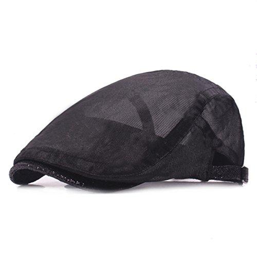ZLSLZ Womens Summer Mesh Breathable Adjustable Ivy Newsboy Cabbie Gatsby Golf Sun Hat Cap for Women Black