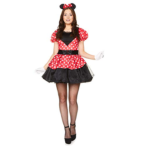 Miss Mouse Costume Set - Halloween Womens Red White Polka Dot Dress, Medium