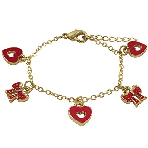 Ivy and Max Gold Finish Pink Flower Girls Charm Cord Bracelet