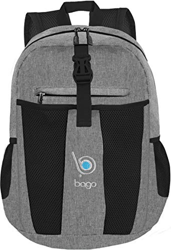 Bago 25L Packable Lightweight Backpack - Water Resistant Travel and Hiking Daypack - Foldable and Handy for Camping Outdoor Sports (Snow Gray) (Outlander Large Packable Handy Lightweight Travel Backpack Daypack)