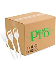 Plasticpro Cutlery Medium Weight Disposable Silverware White (1000 Count)