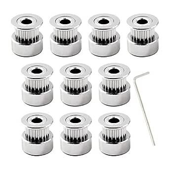 GT2 polea 16 dientes di/ámetro 5mm ancho de la correa 6mm para impresora 3d Pack of 10,llave incluida