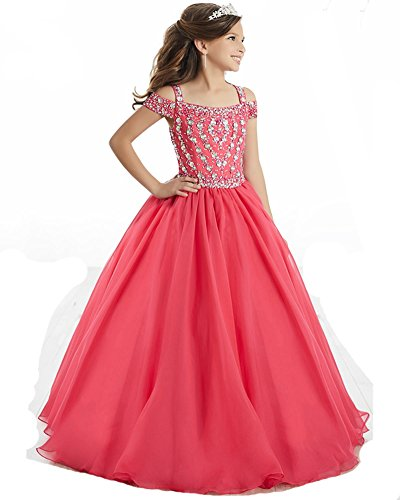 Price comparison product image JinJia Off Shoulder Girl Pageant Dress Long Chiffon Birthday Praty Prom Gown 14 US Coral
