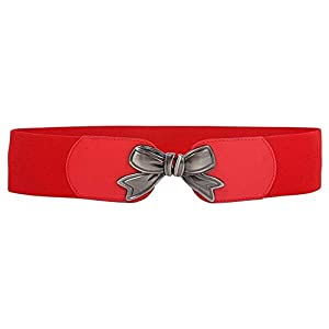 """BBBelts Women Fashionable 3"""" Red Elastic Fabric Bow Tie Shaped Buckle Belt"""