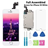 Screen Replacement for iPhone 5S White 4' Full Assembly LCD Display Touch Digitizer with Camera, Home Button, Proximity Sensor, Earpiece Speaker, Screen Protector, Repair Tools (5S-White)
