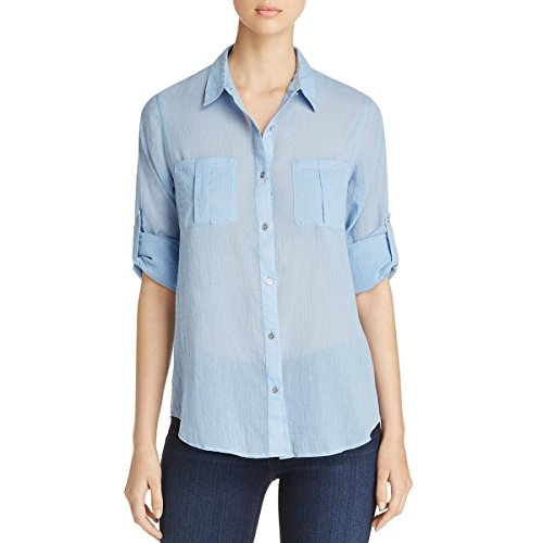 Calvin Klein Women's Crinkle Voile Roll Sleeve Chambray Blue Shirt