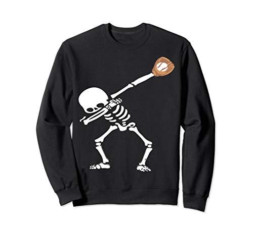 Dabbing Skeleton Baseball Halloween Dab Dance Hip Hop Sweatshirt -