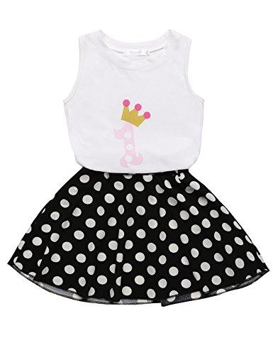 [Arshiner Toddler Baby Kids Girls Summer 2PCS Sets Outfits Sleeveless Shirt/ Vest Tops + Dots Skirt] (Adult Cheerleader Outfits)