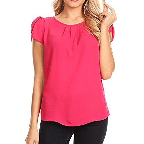 Tank Tops for Women, GREFER Chiffon Solid Round Neck Pleated Short Sleeve Basic Blouse Flowy Shirt Hot Pink