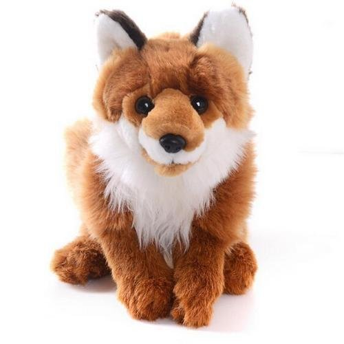 Realistic Brown Plush Collection fox Stuffed Wild Animal Kids Toy Dolls S by unbrand