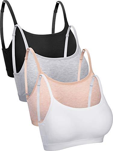 Wireless Padded Bra Mini Camisole Bra Tank Top Bra Seamless Sports Bra with Straps for Female Underwear Favors (Color Set 5, S)