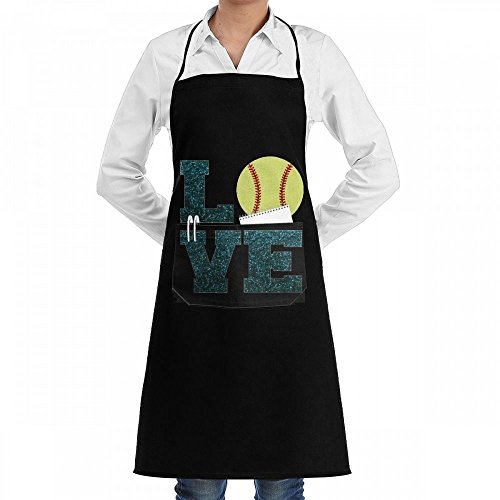 Wodehous Adonis Softball Love Bling Bling Adjustable Bib Kitchen Apron With Pockets For Women Men Chef (Basic Grey Bling)