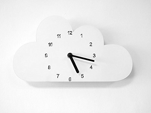 globlepanda Silent Non Ticking Wall Clock Decorative Cloud Shaped Wooden Clock Battery Operated Wall Clocks for Baby Girls Bedroom Decor Nursery Home Decorations Kids Child Birthday Gifts White by globlepanda (Image #1)