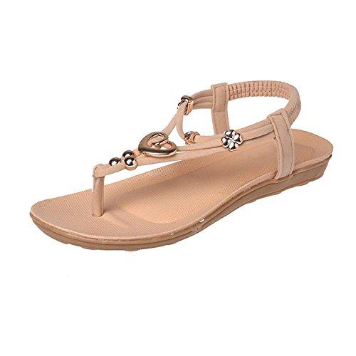 Style Tong Minetom Bohême Vacances Perle Chaussures Glissement Femme Sandales Beige Bohême Plage Chaussure De Accessoires De 6r6qpvf