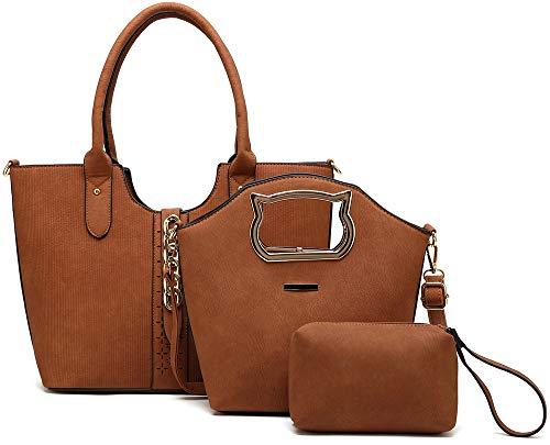- Enimoe Women Handbag Tote Shoulder Bags Wallet and Handbag 3 Piece Set (Brown)