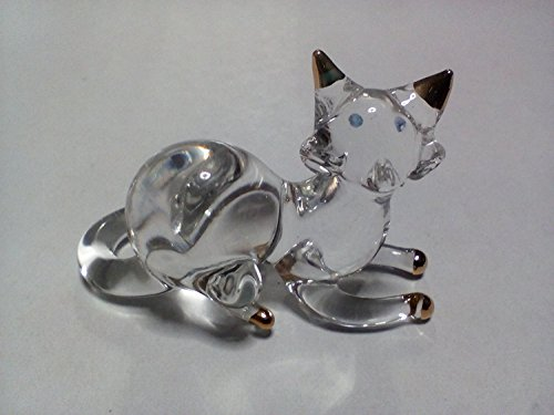 Copter shop Miniature Blown Glass cat Handmade Animal Colorful Cute - Lav Riser