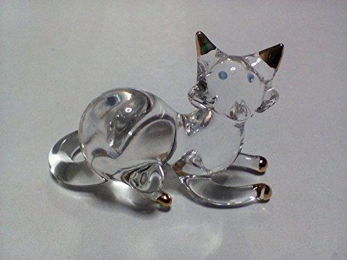 Handlebar Faucet Oil (Copter shop Miniature Blown Glass cat Handmade Animal Colorful Cute Decoration)