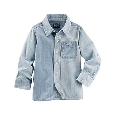 OshKosh B'gosh Big Boys' Denim Block Button Front Shirt, 10-Kids