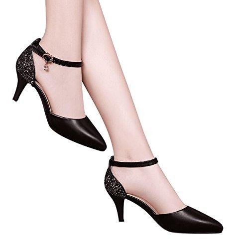 black GTVERNH Alto Sandalias De Tacon Mujer Mujer Cuero de Zapatos Zapatos Tacones De Zapatos Baotou Hebillas Zapatos Verano En Trabajo Verano De 5 Cm De Zapatos Tacones Ocupación raqr4Fxnp