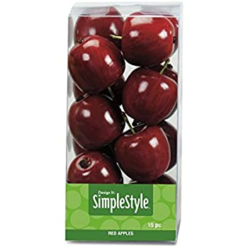 FloraCraft SimpleStyle 15-Piece Mini Decorative Fruit, Red Apple