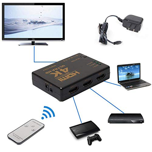 KAIPTS HDMI Switch 3x1 3 Port Switcher Selector 3D 1080p Remote Supplies Give You The Best Service