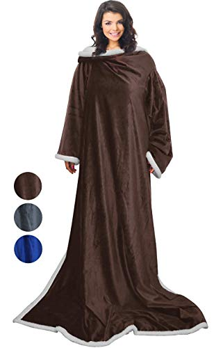 Napa Microplush Sherpa Blanket with Sleeves for Women and Men Brown, Super Soft Mink Fleece Cozy Wrap Warm Wearable Throw Robe 72
