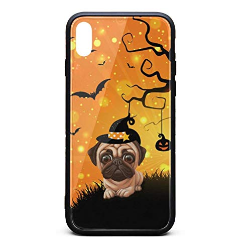 Custom Phone Case for iPhone X Pug Halloween Bat Pumpkin Rubber Frame Tempered Glass Covers Pretty Anti-Scratch Skid-Proof Never Fade Cell Cases Pretty -