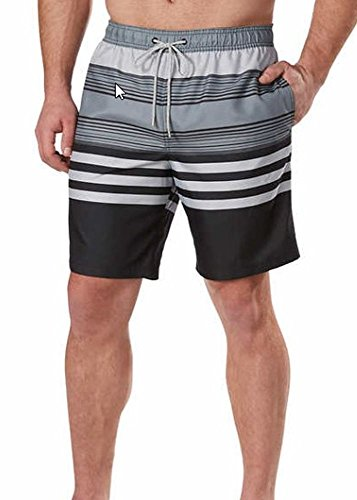 4a1555ece5552 1. Kirkland Signature Mens Swim Short Trunks (L, Black Grey Stripe) by Kirkland  Signature