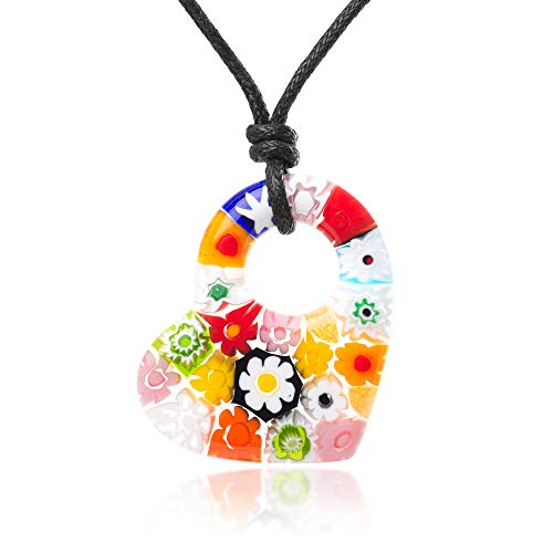 (Chuvora Millefiori Murano Glass Multi-Colored Dangling Heart Pendant 35 mm Adjustable Necklace)