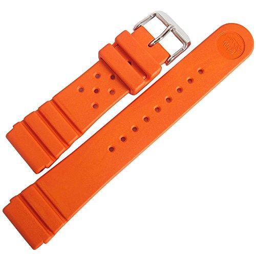 Bonetto Cinturini 22mm Orange Rubber Watch Strap Model 284