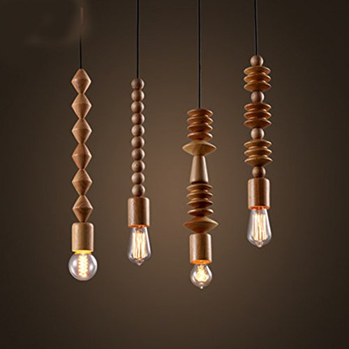 Injuicy Lighting Loft Modern Japanese Oak Wood Wind Chimes Buddha Bead Pendant Lights American Ceiling Pendant Lamps Cafe Clothing Store Restaurant Dining Living Study Room Single-end Chandelier -